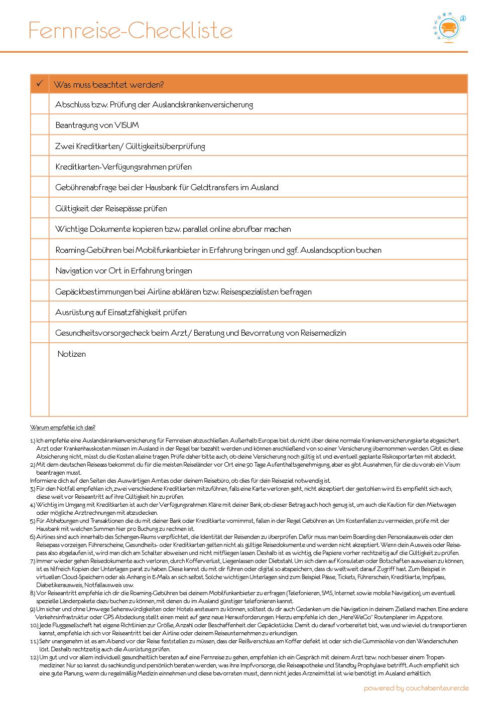 Fernreise Checkliste