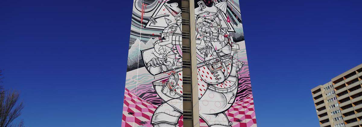 """""""On tiptoes"""" Mural von How & Nosm (Hownosm)"""